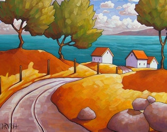 Seaside Road Coastal Giclee Landscape, Summer Ocean Cottage Roadway 5x7 Art Print by Cathy Horvath, Modern Folk Art Scenic Seascape Artwork