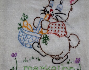HOP into spring with vintage flour sack embroidered bunny towel MARKETING chore