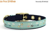 BIG SALE Cream, Navy, and Gold Arrow Print Dog Collar with Metal Buckle