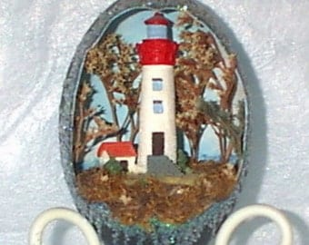Decorated Egg, Emu Egg, Lighthouse Diorama, Nautical Design, Red and White, Gift Idea 4 Him/Her, Egg Art, Handmade, Collectible OOAK,