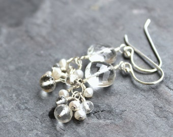 Pearl Crystal Quartz Earrings Sterling Silver Coin faceted cluster dangles