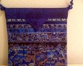 "Laurel Burch Blue Cats Quilted Fabric Snap Bag Purse Handbag Handmade 7-1/2"" x 8"""