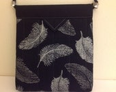Black and  Silver White Leaves Quilted Fabric Snap Bag Purse Handbag Handmade