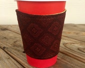 Gift for Him Coffee Cozy To Go Cup Reversible Stocking Stuffer Christmas Flannel Plaid Maroon