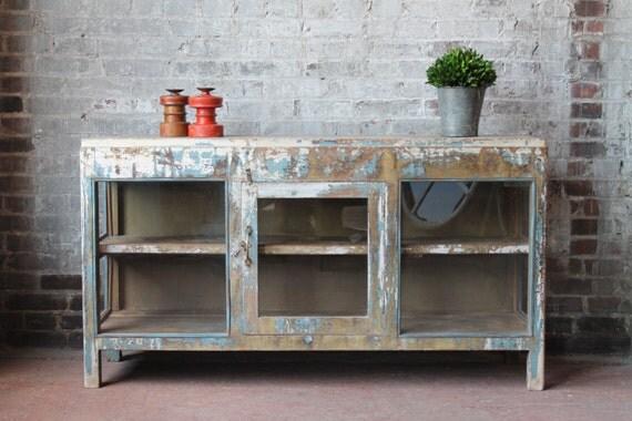 Reclaimed Media Stand Vintage Acid Washed Sideboard Teak Wood
