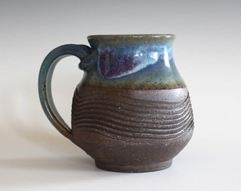 Pottery Mug, 13 oz, handthrown ceramic mug, stoneware pottery mug, unique coffee mug