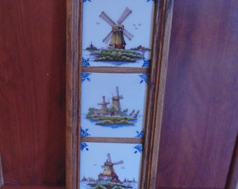Vintage Makkum Framed Tiles,  Three Hand Painted Windmill Scenes