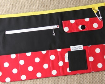 Vendor Apron, Utility Apron, Teacher Apron - Black with Red and White Dots - Ready to Ship