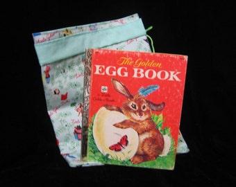 "Vintage ""The Golden Egg Book ""and homemade bookbag"
