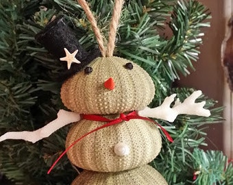 Coastal Ornaments- Green Sea Urchin Snowman with Shell Nose, and White Coral Arms- Great for Christmas and Holiday Decorating