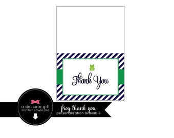 Frog Thank you folded card; Instant Download