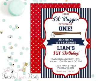 Baseball Birthday Invitation, Boys Birthday Invitation, Baseball Party Invite, Baseball Invitation, Little Slugger, Sports Invitation