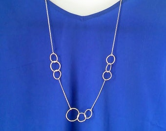 Simple Sterling Silver Necklace, long, slightly abstract bubble necklace