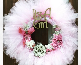 It's a Girl- Variation on The Cosette Wreath- vintage  Gold and pink shabby chic tutu tulle wreath- announcement-hospital-nursery wreath