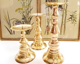 Vintage Brass Candlesticks, Trio of Candleholders, Hollywood Regency, Pillar Candleholder