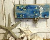 Key Holder Hook Rack Seahorse Sea Blue Art Block Wall Decor by CastawaysHall- Ready to Ship