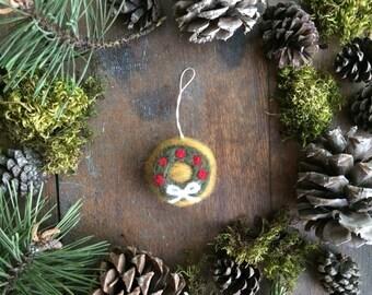 Felt wreath ornament, Amber Heather, christmas wreath ornament, yellow wool christmas ornament, teacher gift, coworker ornament