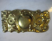 """Stamped Brass Victorian Style Drawer Pull Escutcheon Backplate, Replacement Hardware, 5 1/4"""" x 2 1/2"""", 1 pc."""