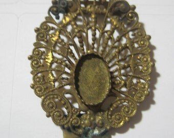 Antique Victorian Brass Filigree Buckle Finding, Oval Saw Tooth 12mm x 8mm Setting Space, Original Finding, 42mm x 30mm, 1 Pc. (vw2)