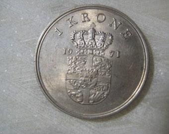1971 Denmark, 1 Krone Coin - Frederik IX