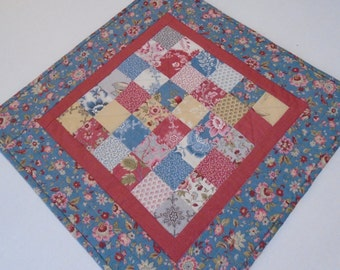 Floral Quilted Table Topper, Quilted Table Runner, Table Quilt, Patchwork Table Runner, Cottage Chic, French Blue, Rose, Pale Yellow