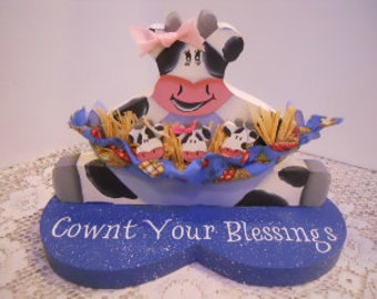 Cownt Your Blessings, Wooden Cow, Decorative Painting. Decorative Woodcraft, Lu Bell and Her Triplets