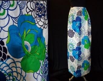 Blue Floral HAWAIIAN Vintage 1970's Women's MAXI Summer Skirt XS S