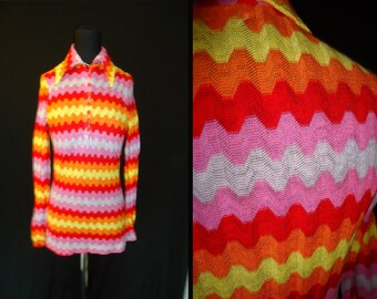 HOT Zig Zag Striped Vintage 1970's Women's Disco Summer Blouse Shirt XS S