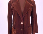 Vintage 70's Women's Blazer Jacket Coat in Dark Chocolate Brown Velvet Size S / Small