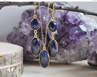 SALE Sapphire Earrings, Sapphire Necklace, September Birthstone, Birthstone Jewelry, Blue Sapphire Necklace, Blue Sapphire Earrings, Sapphir