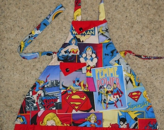 Femme Power Featuring Wonder Woman, Bat Girl, and Supergirl Girls Apron