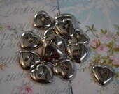 Small Silver Heart Buttons half inch  12 mm in Size Two Hole – Baker's Dozen 13 buttons total