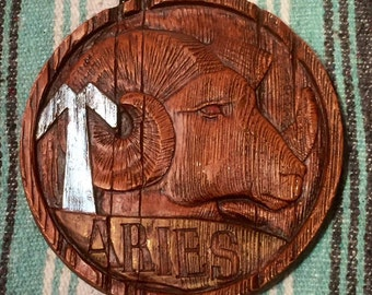 1970s Aries Plaster Wall Plaque
