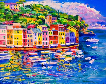 Original Oil Painting on Canvas- Beauty of Portofino 24x20 - Modern Impressionism-Oil on Canvas by Ivailo Nikolov