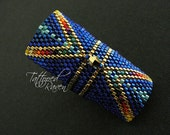 Royal Blue and Gold Beaded Ring