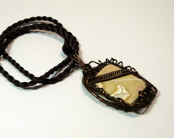 Woven- Wire Wrapped stone/pendant with vintage bronze wire and jasper