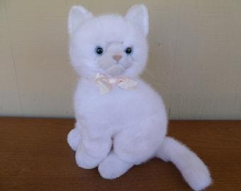 Dakin White Plush Cat Kitten So Cute!! Vintage