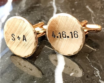 Gold Tone Brass Personalized Cuff Links - Copper Custom Cuff links - Silver tone personalized Cufflinks - Your Name, Quote, Hand Stamped