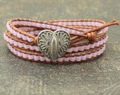 Lavender Heart Bracelet Beaded Leather Valentine's Jewelry Shabby Boho Chic Heart Jewelry Triple Leather Wrap Bracelet Valentine's Bracelet