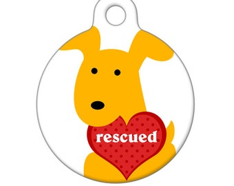 Pet ID Tag - Rescued Yellow Pup with Heart Pet Tag, Dog Tag, Luggage Tag
