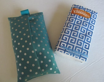 Tissue Case/Silver Dots On Turquoise