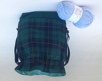 Knitting Crochet Project Bag, Medium Drawstring, Plaid Tartan Scottish Outlander fabric, Gift Idea