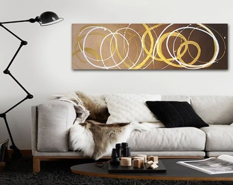 "12"" x 36"" Original Abstract Painting - Contemporary Wall Art Decor - brown and metallic gold - neutral painting - spirals"