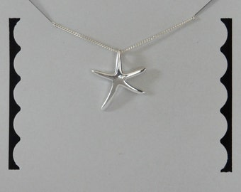 Sterling Silver Starfish Necklace, Nautical Jewelry, Beach Jewelry, Birthday Gift, Bridesmaid Gift, Kids Jewelry, Children's Jewelry
