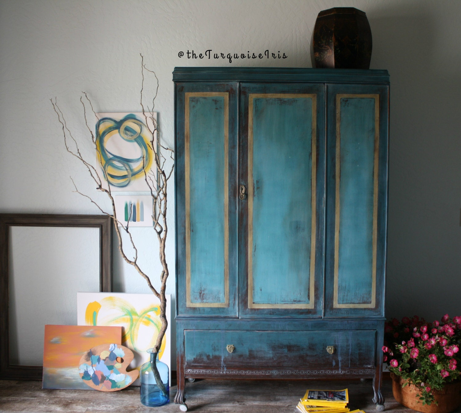 Bohemian Teal Wardrobe With Gold Highlights Hand Painted Armoire . Full resolution‎  portrait, nominally Width 1500 Height 1344 pixels, portrait with #437788.