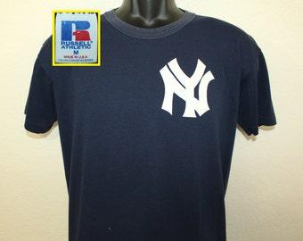 New York Yankees #12 vintage jersey t-shirt M navy blue 90s MLB baseball Russell Athletic