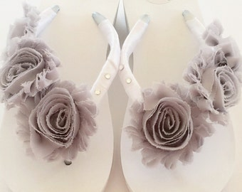 Bridal Wedges.Bridal Flip Flops/Shoes. Wedding Flip Flops/Sandals.Shabby Chic Brides.Beach Wedding Flip Flops.White Flip Flops.
