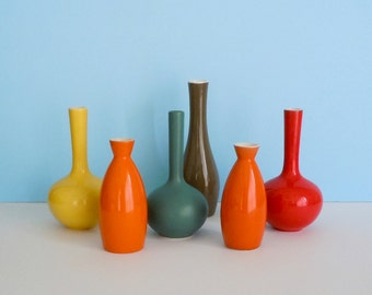 Collection of Six Vintage, Mid-Century Porcelain Bud Vases Made in Japan