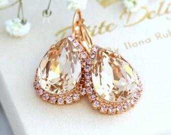 Light Silk Earrings, Champagne Earrings, Bridal Earrings, Bridal Drop Earrings, Swarovski Dangle Earrings, Bridesmaids Earrings,Gift For Her