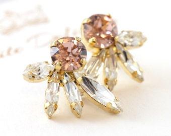 Blush Pink Crystal Earrings,Swarovski Blush Pink Earrings,Bridal Cluster Earrings,Bridesmaids Pink Bush Earrings,Peach Swarovski Earrings